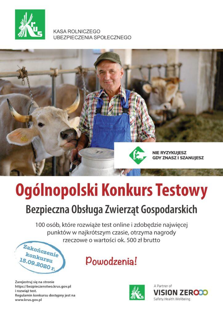 ogólnopolski konkurs testowy - bezpieczna obsługa zwierząt gospodarskich - plakat